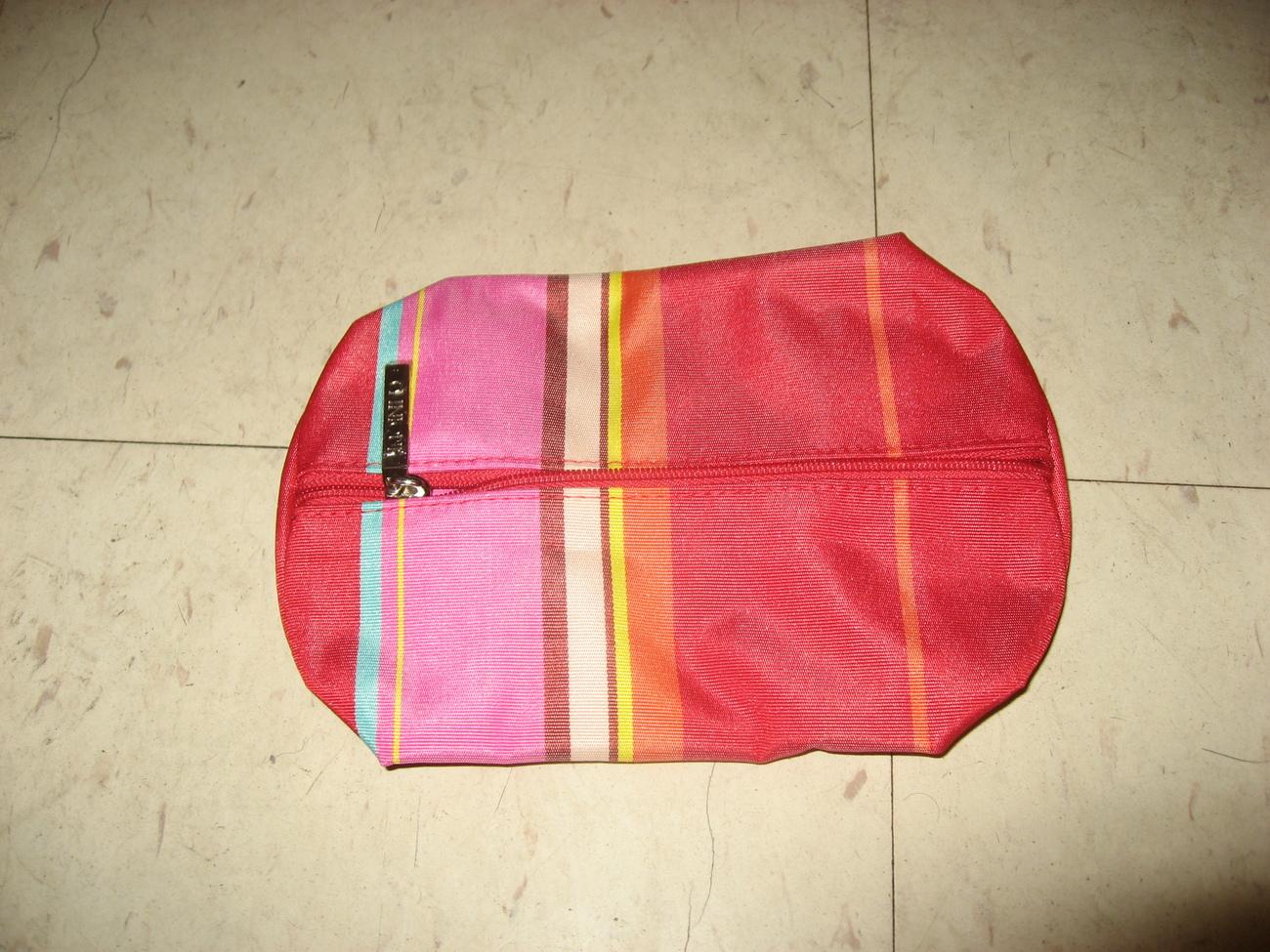 Clinique red striped makeup bag