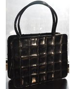 QUILTED PATENT LEATHER VINTAGE 1950's POCKETBOOK BAG PURSE  - $65.00