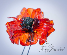 Big Midday Poppy Handmade Hair Pin Red Bridal Flower Resin Kanzashi Stic... - $96.00