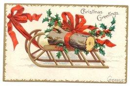 Signed Clapsaddle Sled Yule Log Vntg 1907 Embossed Gilt Christmas Postca... - $6.69