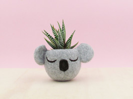 Planter / Koala head planter / Small succulent pot / Felt succulent plan... - $24.00