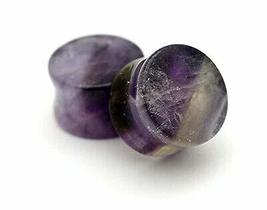 """Pair of Double Flare Stone Plugs (Amethyst, 5/8"""" - 16mm) - $21.78"""