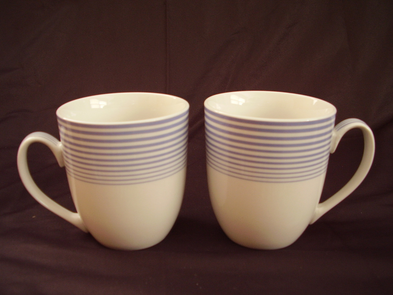 Johnson Bros Fresh Boxed Set of 2 Coffee Mugs NIB White Blue Stripes