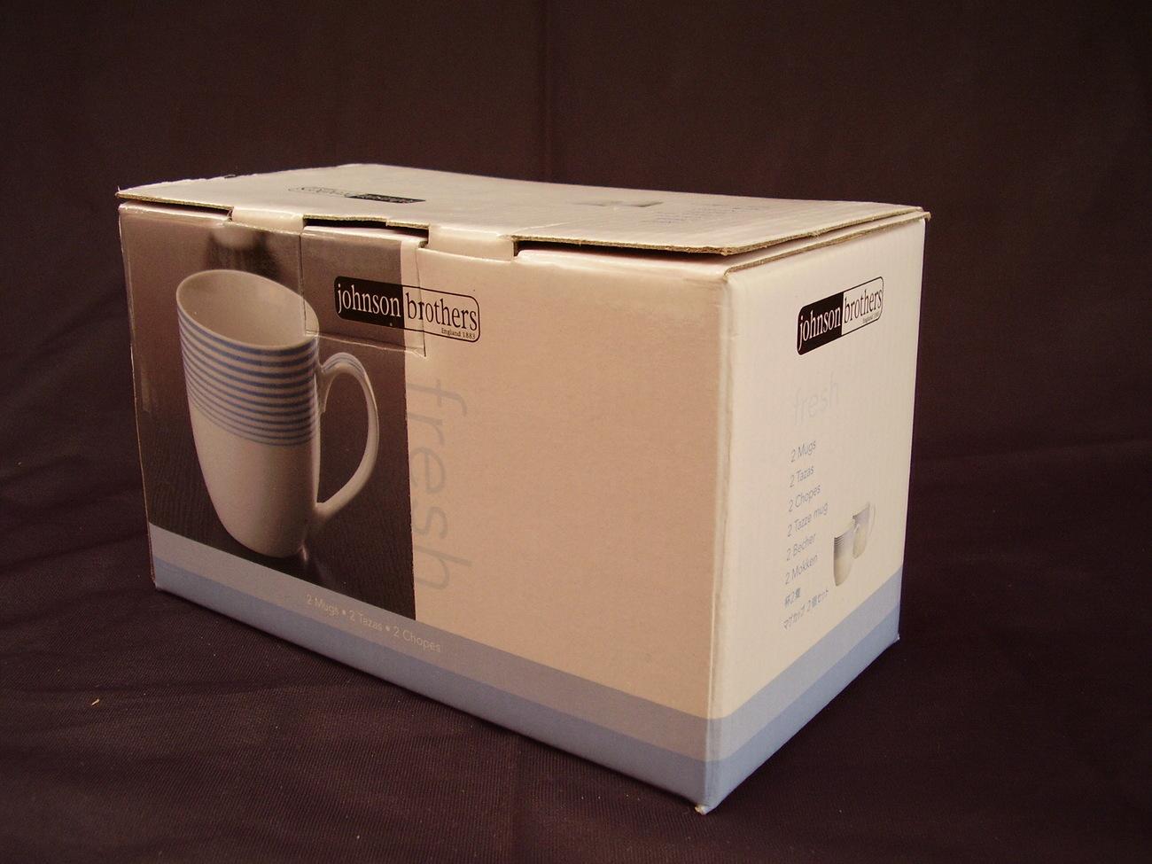 Johnson Bros Fresh Boxed Set of 2 Coffee Mugs NIB White Blue Stripes