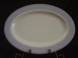 Johnson Bros Fresh Oval Platter White Blue Stripes - $35.00