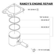 OEM part Piston kit assembly 537328502 Husqvarna 575 xp - $134.99