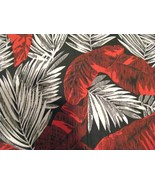 Large Red and Gray/White Leaves on Black Fabric 1 yd - $15.95