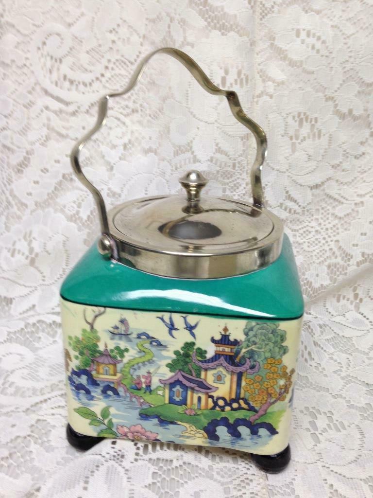 Antique LS & Sons Hanley England Gaudy Blue Willow, 7inx5in Sq. Biscuit  Jar (G) - $237.45