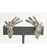 50s ESTATE VINTAGE DELIZZA ELSTER D&E JULIANA CLEAR RHINESTONE EARRINGS ... - $45.00