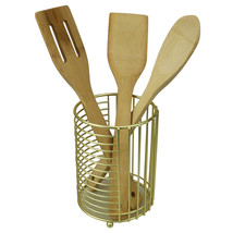 Halo Steel Cutlery Holder with Mesh Bottom and Non-Skid Feet, Gold - $12.86