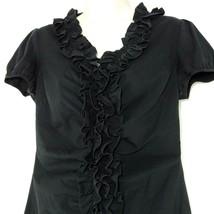 Ann Taylor Loft Ruffle Button Front Top Blouse Women Size 4 Black STAIN - $12.86