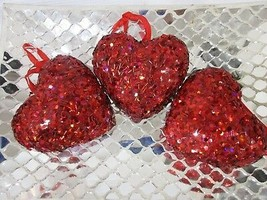 "Valentines Day 3.5"" Red Heart Sequins Glitter Ornaments Decorations Set ... - $18.99"