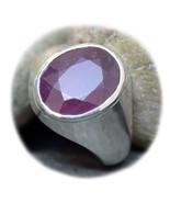 Fashion Ruby Solid Silver Ring For Women Bold 4 Carat July Birthstone Si... - $835,78 MXN