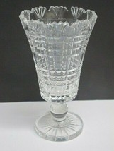 Waterford CUT GLASS signed vase footed old cut in Ireland, - $126.23
