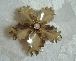 Big Vintage Gold-tone Flower Pin ~ Brooch ~ AB Rhinestone ~  - $8.00