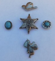 5 Vintage Southwestern Style Silver Button Covers Sheriff Hat Saddle Concho - $20.00
