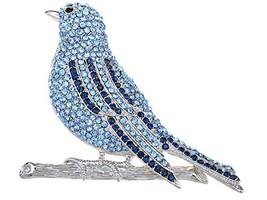Alilang Silvery Tone Shine Blue Green Rhinestones Bird Branch Brooch Pin... - $25.41