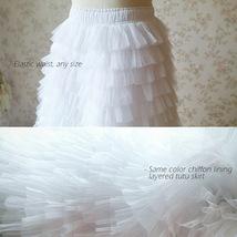 WHITE Long Tulle Skirt White Layered Tulle Skirt White Wedding Skirt image 5