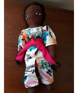 "15"" Handmade African American Black Doll Baby in Backpack - $23.72"