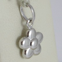 18K WHITE GOLD ROUNDED FLOWER DAISY PENDANT CHARM 17 MM SMOOTH MADE IN ITALY image 2