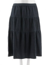 Denim & Co Petite Chambray Tiered Maxi Skirt Drk Indigo Wash PL NEW A307564 - $27.70