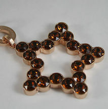 ROSE BRONZE REBECCA NECKLACE BIG STAR WITH BROWN CRYSTAL CT 20.00 MADE IN ITALY image 4
