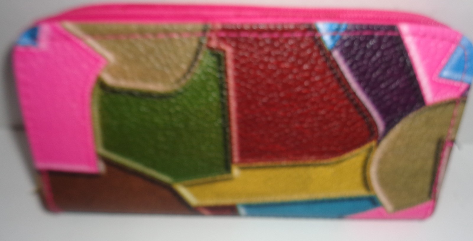 Women's Multi Color Double Compartment Wallet Geometrical Shapes NIP