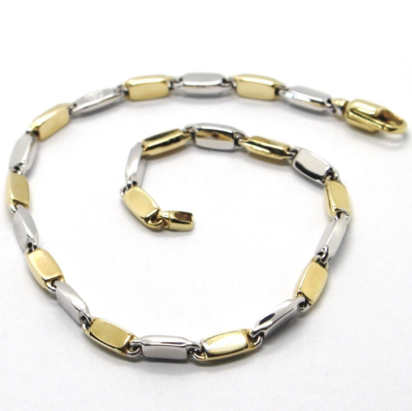 BRACELET YELLOW GOLD WHITE 18K 750, SMALL PIPES PIATTI OVALS ALTERNATING