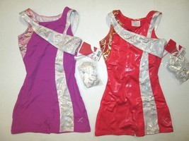 NWT Girls SC (4-5) IC (6-7) Biketard Foil Child Dance Gymnastics Unitard... - $16.95