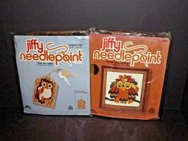 Set of 2 Jiffy Needlepoint 5942 Owl Key Chain & 5398 Oliver Owl Orange N... - $49.49
