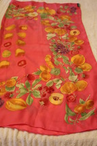 "Linda Allard Ellen Tracy Vtg 36"" Pink Fruit Theme 100% Silk Hand Rolled ... - $37.61"