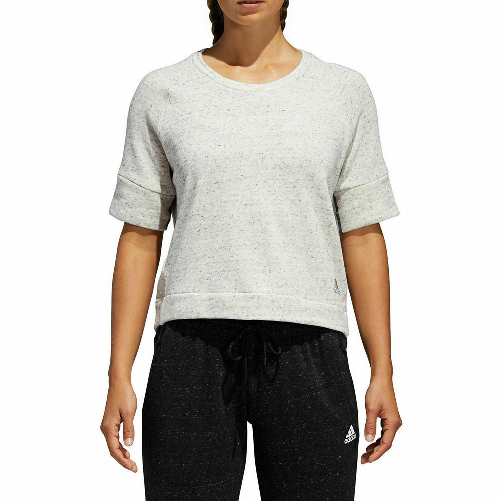 Adidas Womens Cotton French Terry Cropped Top White Melangegrey Size Medium - Tops -5097
