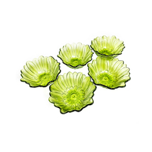 Vintage mid century set of 5 Indiana Glass green lily flower shaped bowls - $55.00