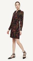 NWT Womens Ann Taylor L/S Navy Blue Rose Garden Shirt Dress Sz Large - $49.49