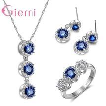 New Arrival Blue Austrian Crystal Jewelry Set Original  Silver Pendant N... - $15.47