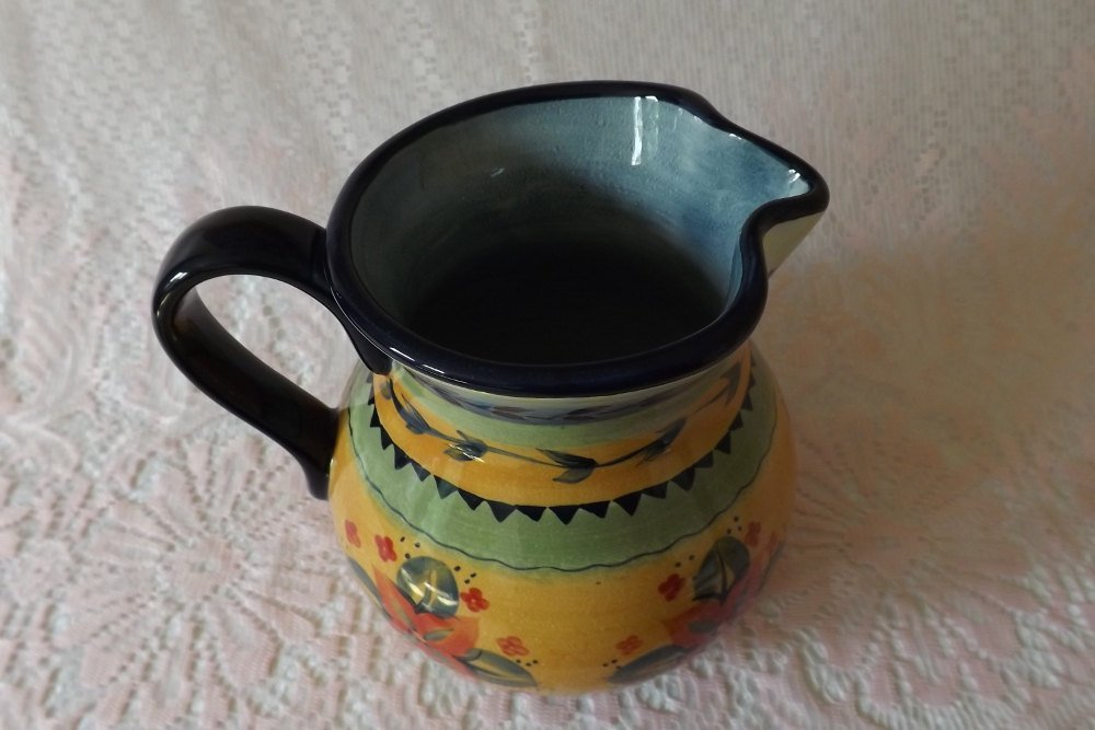92oz Pitcher Tabletops Gallery Round (Cesarita Pattern) Handcrafted Stoneware