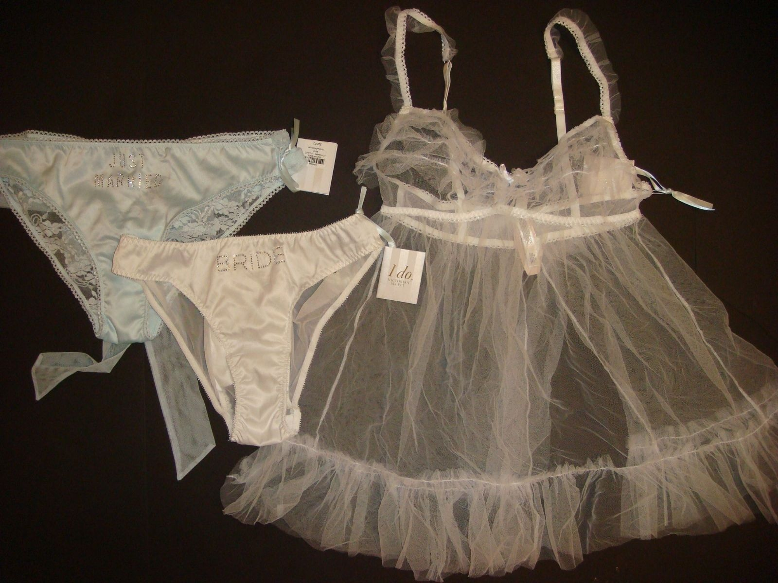 80daeeb66d S l1600. S l1600. Previous. Victoria s Secret M BABYDOLL+panty crystallized  BLUE white Just married BRIDAL