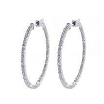 2.20 Carat Eternity Inside Out Diamond Hoop Earrings 14K White Gold - $1,401.84