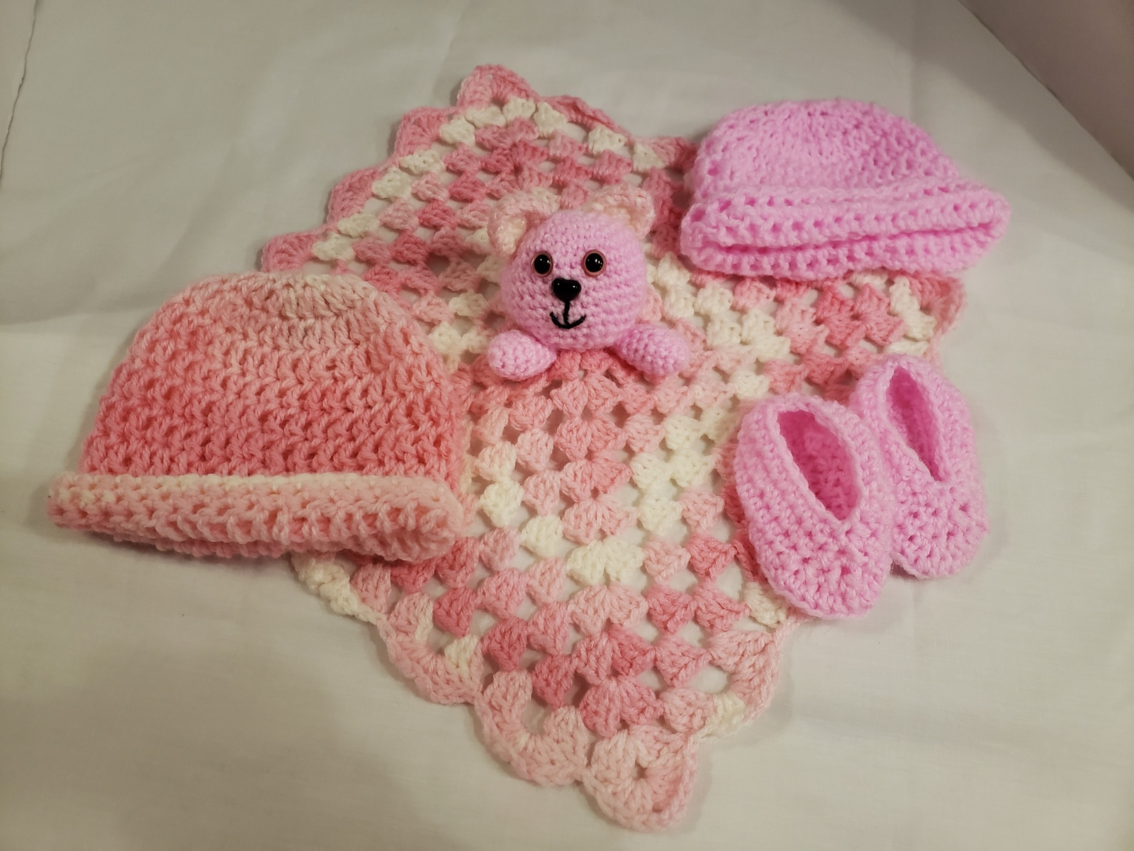 Handmade Crochet Baby Girl 4pc. Baby  Gift Set