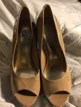Jessica Simpson Peep Toe Wedge Pumps, Tan & Black 8.5 - $34.64