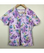 Disney Tinkerbell Scrub Top S Purple Pockets Fairy Print Nurse Medical W... - $21.17