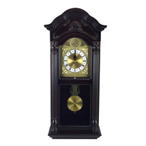 Bedford Clock Collection 25.5 Inch Antique Mahogany Cherry Oak Chiming Wall Cloc - $133.41