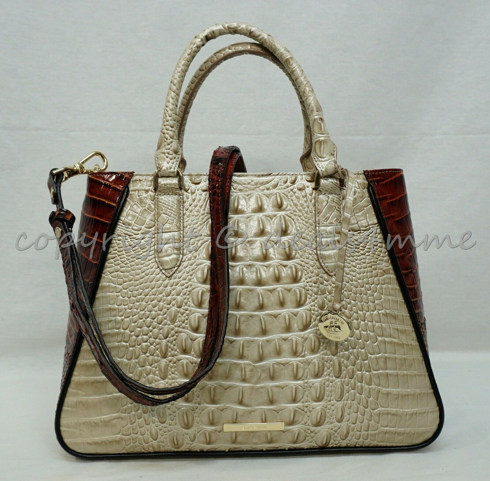 Primary image for NWT Brahmin Small Irene Leather Satchel/Shoulder Bag in Linen Osmia