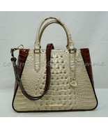 NWT Brahmin Small Irene Leather Satchel/Shoulder Bag in Linen Osmia - $249.00