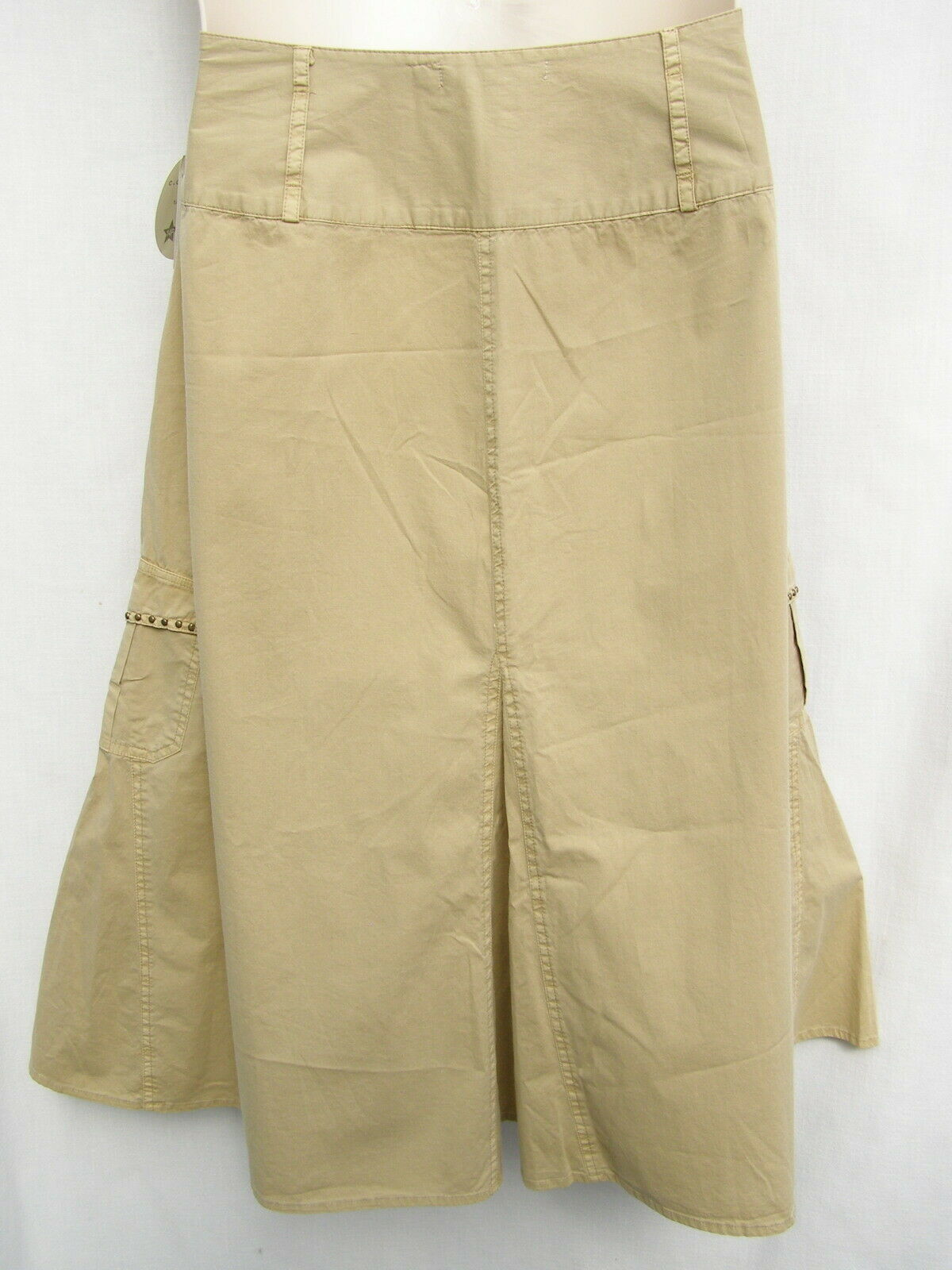 "CC Couture Circle Skirt Women's 14P New Khaki Latte 31"" Long Pockets Cotton NWT"