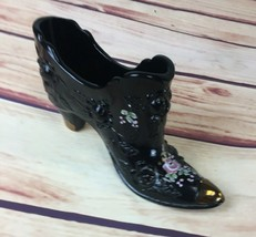 FENTON Black Cabbage ROSE SHOE Boot Victorian Gold Hand Painted B. Cambr... - $19.99