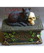 Black Cat with Skull Celtic Pentacle Resin Trinket Tarot Box - $39.55