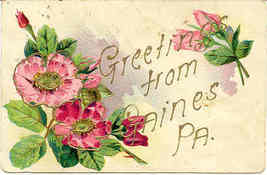 Greetings From Gaines Pennsylvania Vintage 1907 Post Card - $5.00