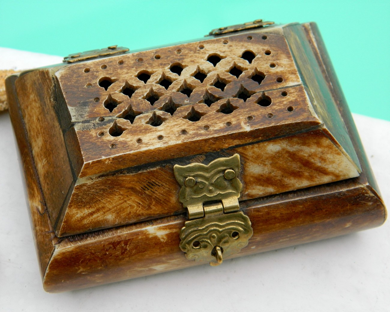 Primary image for Vintage Carved Bone Brass Hinged Pierced Trinket Jewelry Box India