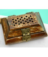 Vintage Carved Bone Brass Pierced Trinket Jewel... - $22.95